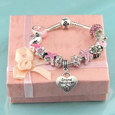 Pandora Children's pink charm bracelet,Granddaughter jewelry,Love,silver,Crystal,Artificial diamond,Flower girl jewelry Party,Wholesale or retail.