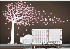 baby girls room. love the tree painted on the ground