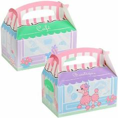 "Pink Poodle in Paris Empty Favor Boxes (4) by BirthdayExpress. Save 5 Off!. $2.85. Includes 4 empty boxes. Each measures 6"" wide x 4"" high x 3"" deep."