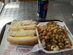 Small Poutine With 2 Steamed Hot-dogs from the Montreal Pool Room. Hot Dog Buns, Hot Dogs, Poutine, Montreal Quebec, Menu Restaurant, Pepsi, Room, Pizza, Vacation