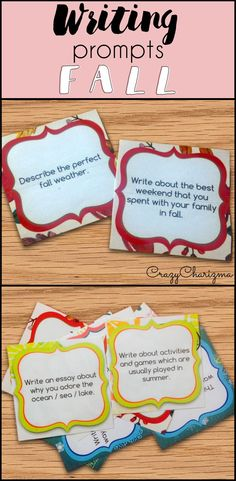 Celebrate FALL in you classroom and engage students with writing. These writing prompts are easy to prepare and you'll be able to use them every year! Topics included: fall topics (pumpkins, being grateful, leaves, scarecrows, rains, warm clothes, elections, turkey, etc.) and holidays (Thanksgiving, National Dictionary Day, Black Friday, National Fire Prevention Week, National Dental Hygiene month and more)! | CrazyCharizma
