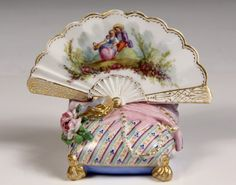 PORCELAIN CARD HOLDER - Meissen Hand Fan atop Pillow with bracket behind for card, book, glove, jewelry  roses on top.