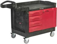 Trademaster Cart With 4-Drawer And Cabinet Small Black
