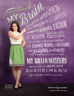 Everyone is at risk for Alzheimer's disease. Even you. Join our movement and share why your brain matters: www.mybrain.alz.org