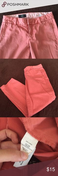 "J. Crew ""Scout"" chino pants J. Crew cropped pants. Has more of a vintage salmon color, but the 2nd pic is pretty accurate. Gently worn. For reference, I am 5'3 & it hits right at my ankle. J. Crew Pants Ankle & Cropped"