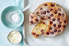 Raspberry and almond ricotta dessert cake