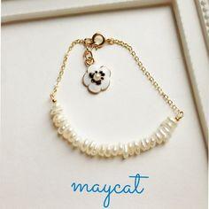 淡水パールとお花のブレスレット* by maycat アクセサリー ブレスレット