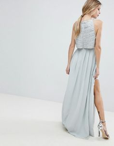 ASOS | ASOS Silver Embellished Crop Top Maxi Dress
