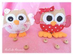 Cute sweet little owls in felt