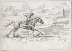 Racing Day #3. 7.5x11in. Horse Racing Drawing #Realism