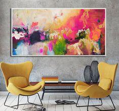 Abstract painting print ready to hang, pink large vibrant painting, modern painting, pink art print on canvas modern art mounted canvas Large Art Prints, Wall Art Prints, Fine Art Prints, Canvas Prints, Free Canvas, Canvas Art, Pink Art, Pink Blue, Grand Art