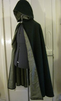 Wool and linen cloak, leather buckle.   Follow us! - http://starshipseraphm.blogspot.com/p/home.html