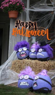 artbyangeli: Happy Halloween: Purple Minion pumpkins