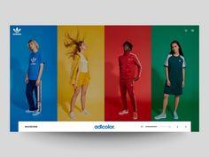 Daily UI - Adicolor Exploration by ★ ɢıuʟiø cuƨcitø ★ on Dribbble Ecommerce Website Design, Web Ui Design, Web Design Trends, Design Lab, Pop Design, Design Concepts, Design Ideas, Sites Layout, Web Layout