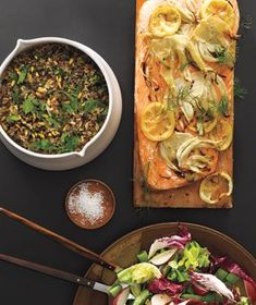 surf grill menu: Plank-Grilled Salmon, Wild Rice and Pine Nut Salad, and Greens With Radishes and Snap Peas