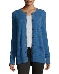 Donegal Speckled Knit Cashmere Cardigan, Size: MEDIUM, Blue - ATM