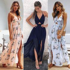 97c2921911 New Hot Selling Women Maxi Long Dress Holiday Summer Evening Party Beach  Slit Spilt Sundress Woman Ladies Sleeveless Dresses BLD2019244
