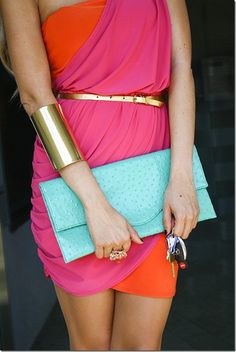 Love the color, esp. the turquoise purse