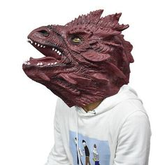 Adult realistic mask animal mask latex Halloween Red Dragon mask universal Size | eBay