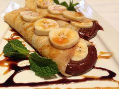 panqueca doce, banana, chocolate, recheio, receita