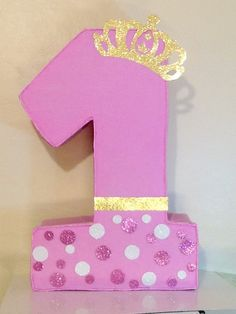 Crown pinata. First birthday Girl pinata. Pink and by aldimyshop