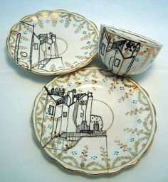 Sharpie baked onto vintage dishes.