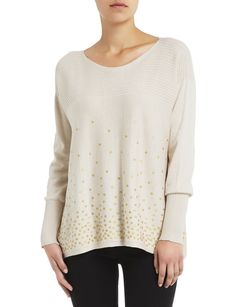 Long sleeve knit jumper with ombre gold spot foil effect at hems, front and back. Womens Clearance, Plunge Bra, Jumper, Pullover, Knitting, Long Sleeve, Lace, Sweaters, Gold