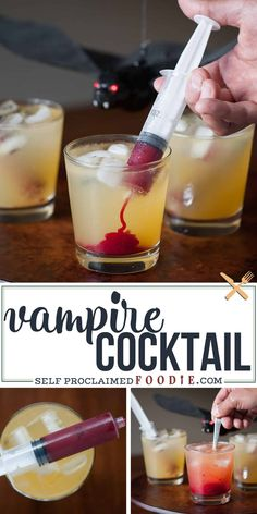 Vampire Cocktail is the perfect spooky Halloween drink Syringes filled with sweetened raspberry puree look gory but taste amazing 320811173455823037 Party Drinks Alcohol, Liquor Drinks, Alcohol Drink Recipes, Vodka Alcohol, Cocktail Drinks, Raspberry Cocktail, Beverages, Bourbon Drinks, Mango Sangria