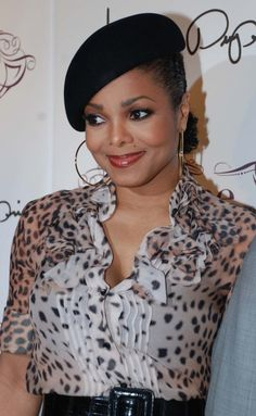 Janet Jacksons retro hat hairstyle     #hair and beauty