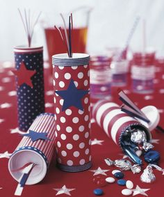 These red, white and blue firecracker crafts will spark some fun at family celebrations and sweeten up the day.
