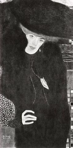 Women / Damenbildnis in Rot und Schwarz (Portrait of a Lady in Red and Black),1907, by Gustav Klimt.