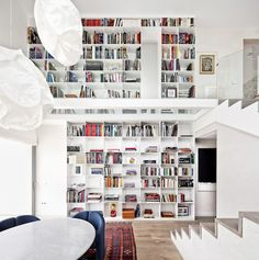 Floor of glass (no like) mezzanine home library