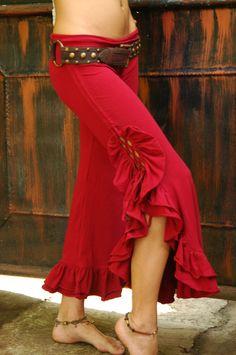 Tribal Bellydance Ruffle Pants-Red. $90,00, via Etsy.