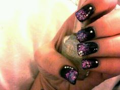 Night Prowl by wet n wild with clear mylar flakes and rhinestones I did on a friend