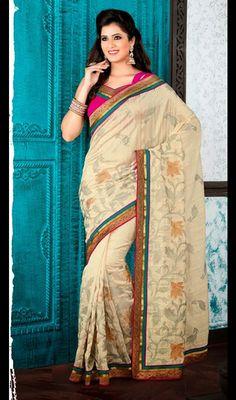 Beige Bhagalpuri Silk Saree with Border Work Price: Usa Dollar $125, British UK Pound £74, Euro92, Canada CA$136 , Indian Rs6750.