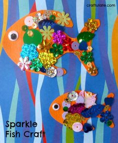 Sparkle Fish Craft – an easy project for kids of all ages! Fish Crafts Preschool, Fish Activities, Ocean Crafts, Toddler Crafts, Crafts For Kids, Dinosaur Crafts, Vocabulary Activities, Nature Crafts, The Rainbow Fish