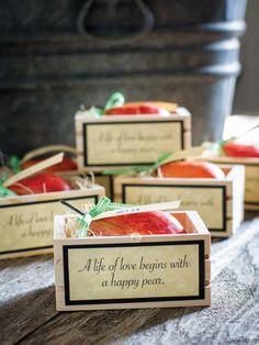 Happy Pear Wedding Favor --> http://www.hgtvgardens.com/weddings/make-a-pear-wedding-favor?soc=pinterest