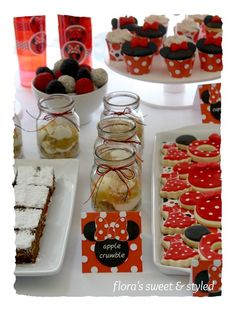 "Photo 11 of 24: Minnie Mouse / Birthday ""Minnie Mouse Red, Black & White Dessert Table"" 