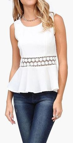 Eyelet Peplum Top in Ivory ♥  No pattern but could use a peplum pattern & add the insert.