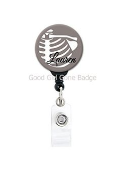 Retractable Badge - Xray Grey Ribs - Personalized Name - Radiology