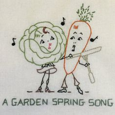 A Garden Spring Song by StitchinTimeStudio on Etsy $25.00 Hand Embroidered Cotton Towel