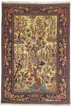 Persian Tehran tree of life rug, 4ft 7in x 6ft 10in, Circa 1900, Claremont gallery