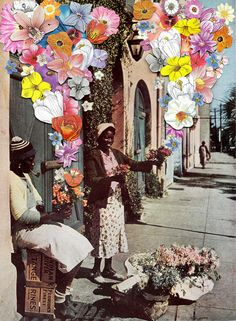 this is a dull looking photo that has lots of colorful flowers coming from the lady's hands which makes the picture look more happy and bright. it is a collage.