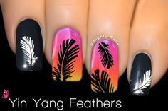 FEATHER Nail Art Water Transfer Decal Sticker black White ♥ Yin Yang ♥ BLE-892