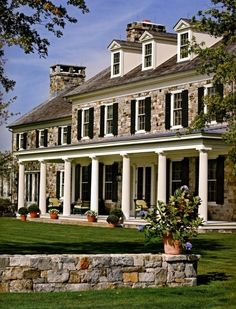 Stone House with porch..LOVE LOVE STONE Reminds me of all the civil war homes in PA.