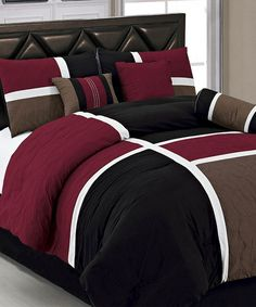 Bring a touch of class into your Bedroom with this 7 Piece Bedding Set. This bed in a bag set will add a touch of warmth and it will create a calm and relaxed Mens Bedding Sets, Bedroom Comforter Sets, Queen Comforter Sets, Brown Comforter, Luxury Bedding Sets, Black Bedding, Duvet Sets, Bedroom Red, Dream Bedroom