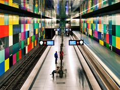 A colorful installation by artist Franz Ackermann spans two walls in the Georg-Brauchle-Ring subway station in Munich, Germany....