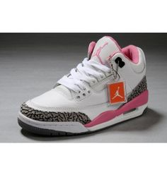 Women Air Jordan 3 High Quality White Cement Grey Pink Shoes - Click Image to Close Pink Jordans, Jordans Girls, Retro Jordans, Air Jordan 3, Sneakers Mode, Sneakers Fashion, Jordan Sneakers, Pink Shoes, White Shoes