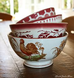 Antique Faience Bol Rooster FrenchGardenHouse