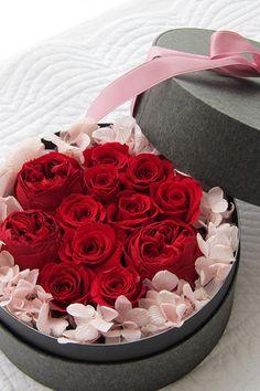 Preserved flower Red & Pink Dozen Rose プリザーブドフラワー アレンジメント レッド&ピンク ダーズンローズ http://www.fleuriste-glycine.jp/